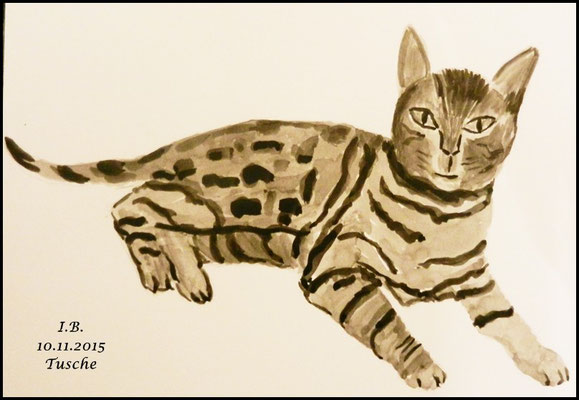 Versuch eine Katze mit Tusche / Leider fehlen die Barthaare