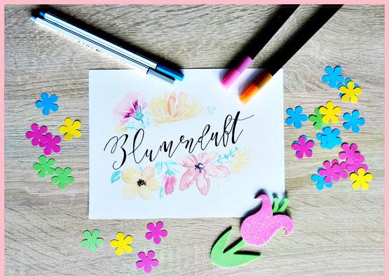 Das Blumen Aquarell ist ein Freebie von Ludmila Blum, die Schrift und das Wort von Timo`s Generator