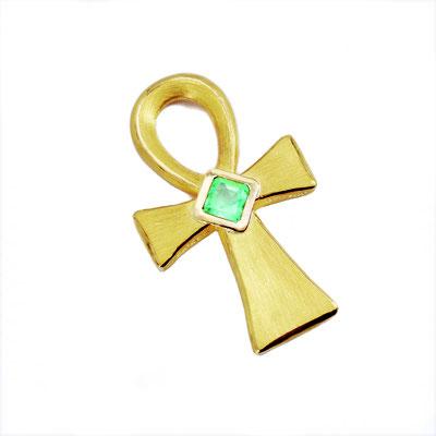 Anchkreuz, 999,99er Gold mit Smaragd