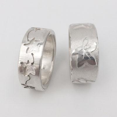 Eheringe aus Silber mit Efeuranken als Zeichen der ewigen Verbundenheit