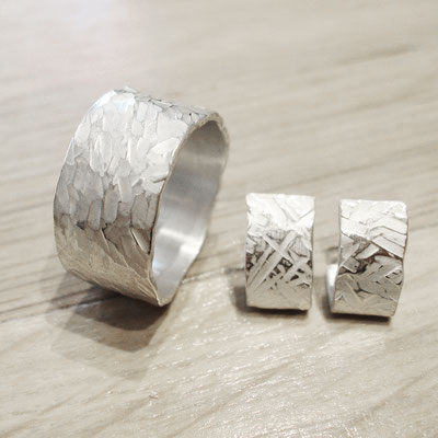 Silberring mit Silbersteckern