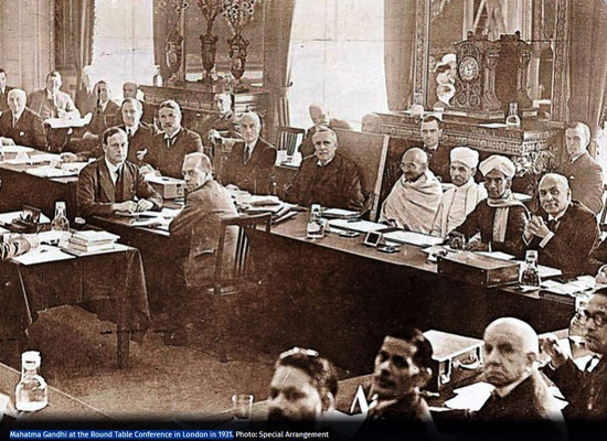 Mahatma Gandhi at the Round Table Conference in London in 1931.