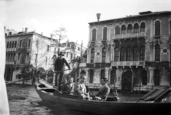 Baba in a gondola with Edith Corfe,Kaka Baria & Adi K Irani - 5th April, 1932