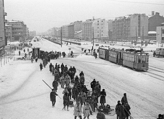 Winter scene inside the besieged city