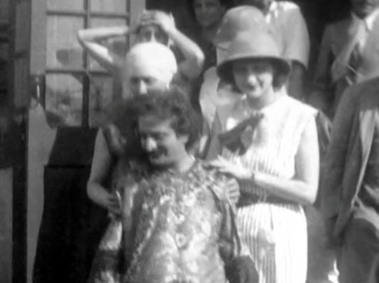 "Bhandardara, India. Baba dressed-up with Vivienne behind him wearing a plinth hat. Courtesy of  DVD ""I am the One Reality"" & ECP Archives."