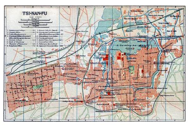 Tsinan Town - 1924 map