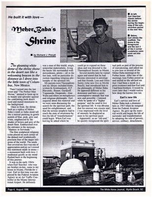 This article appeared in the White Horse Journal - August 1996 - Page 1