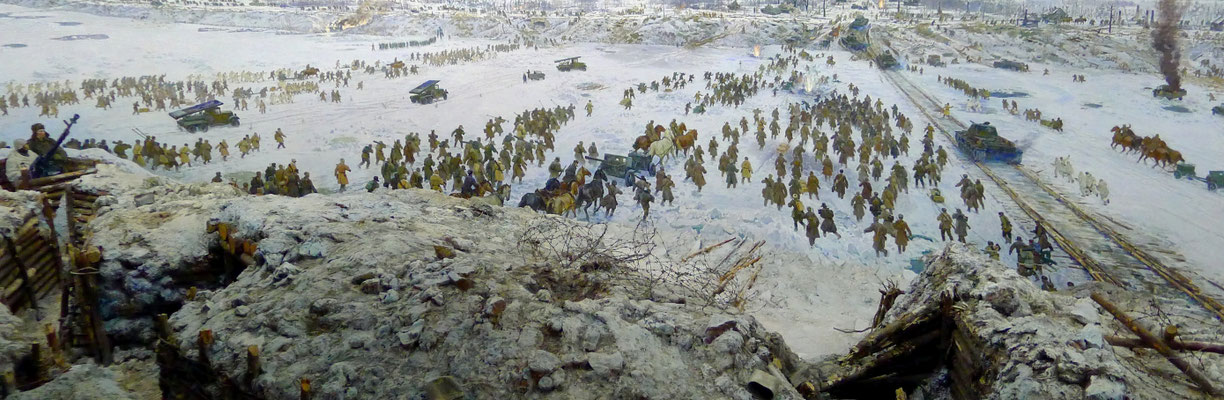 Painting of the Soviet Army advancing against the Axis forces