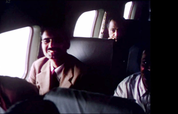 Meher Baba with Eruch Jessawala beside him and Dr. Nilu in the rear flying from Newark, NY to Wilmington NC., on this plane. Image captured from a film by Anthony Zois