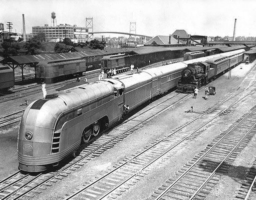 The New York Central's all new Mercury on display at at Toledo Union Station on July 2, 1936 - George Blount photo