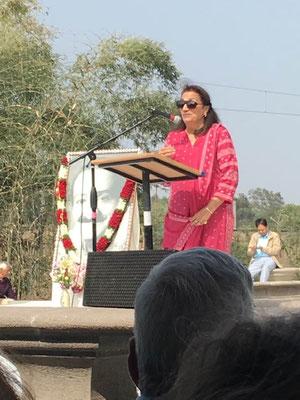 Amrit Irani making a speech