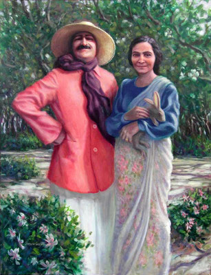 1994 : Baba and Mehera with Rabbit - Painted by Charlie Mills - Oil-52x40 - Courtesy of Caren Haas - http://www.millsstudio.com/