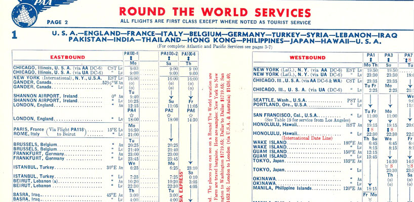 CLOSE UP OF THE 1952 PAN AM FLIGHT TIMETABLE BROCHURE