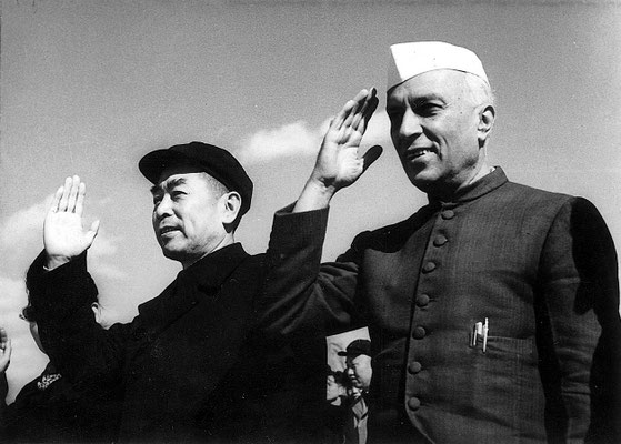 Jawaharlal Nehru with Zhou Enlai in Beijing in October 1954