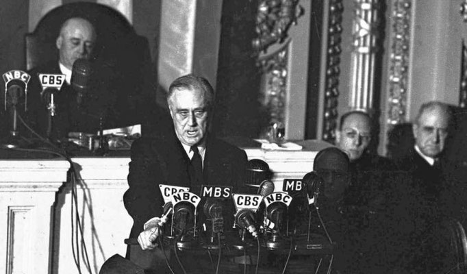 President Rooselvelt addresses Congress and the American people about declaring war on Japan.