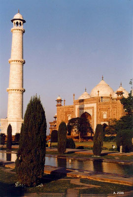 "Photo taken by Anthony Zois 1988 - Taj Mahal - Eastern minaret and ""The Answer""  building"