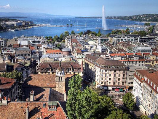 View OF Switzerland's Lake Geneva - tower, city & waterfronts
