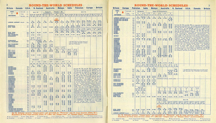 BOAC's March 1958 timetable