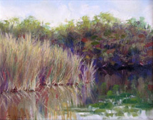 "2003-4 ; Lake Grass - Oil - 8""x10"" - Courtesy of Dot Lesnik"