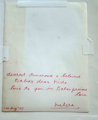 This photo was given to Annarosa Karresch by Mehera Irani in August 1975