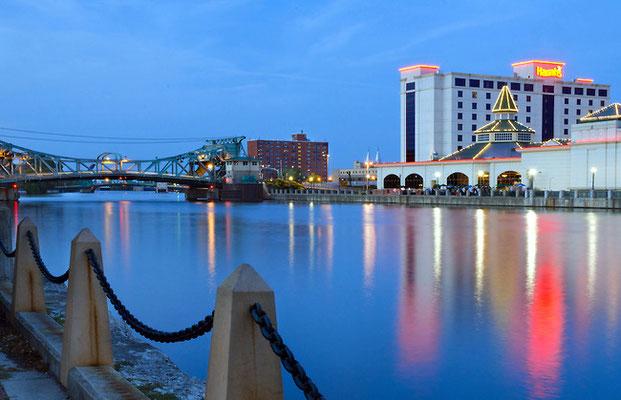 Harrahs Casino and the Cass Street Bridge at Twilight - Joliet,IL.
