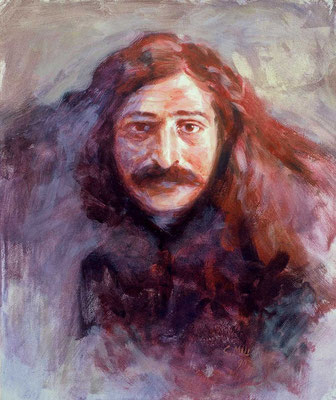 "1990 -#20 ; Passport Baba - Oil - 24""x20"" - Courtesy of Caren Haas"