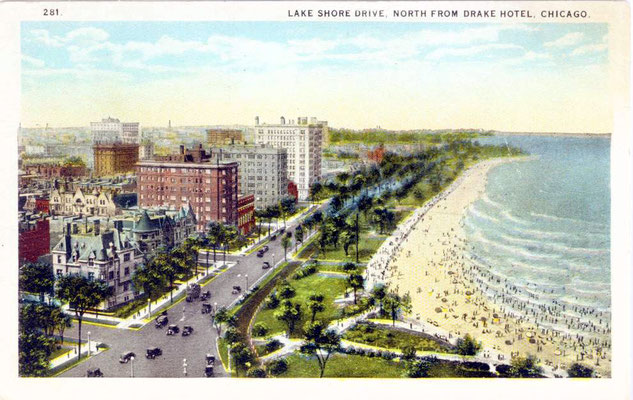 Postcard ; Chicago - Lake Shore Drive - looking north from the Drake Hotel