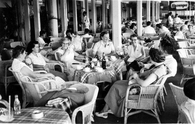 Passengers in the airport restaurant at Kemayoran Airport, Jakarta, Indonesia