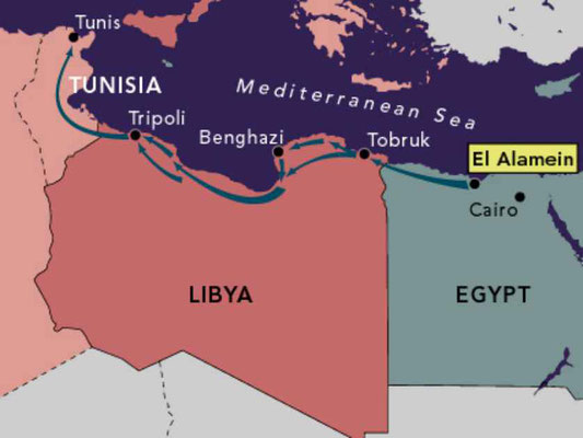Map showing the whole North African theatre of war.