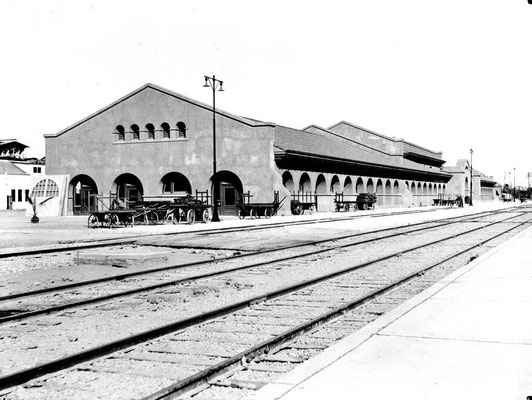 The west side of the building at trackside