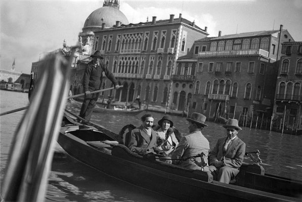 Baba in a gondola with Edith Corfe, Kaka Baria & Adi K Irani - 5th April, 1932