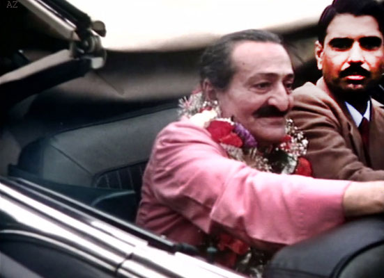 1956 ; Meher Baba and Eruch Jessawala  at Idlewild Airport, New York in the Florsheim's car having arrived from India & Europe.
