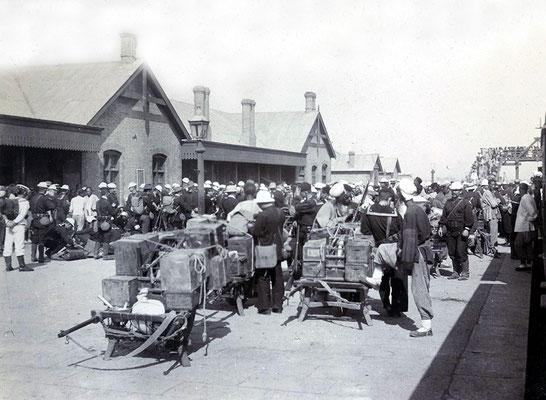 TIENTSIN Railway Station - US troops arrive