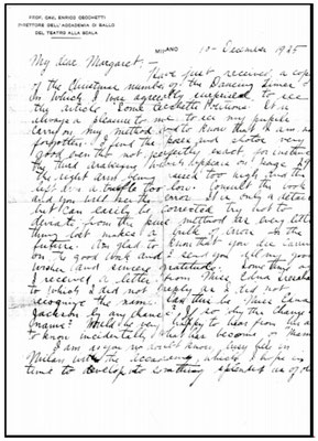 Enrico Cecchetti letter to Margaret Craske - 1925 ; page 1