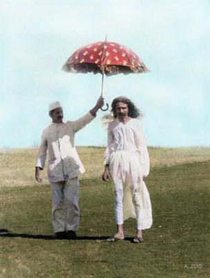 1925 : Meherabad, India.  Image colourized by Anthony Zois.
