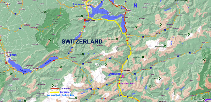 Map C : Zurich to Locarno car routes.