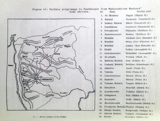 Maharashtra state pilgrim's journey map. Courtesy of Dr. Ray Kerkove.