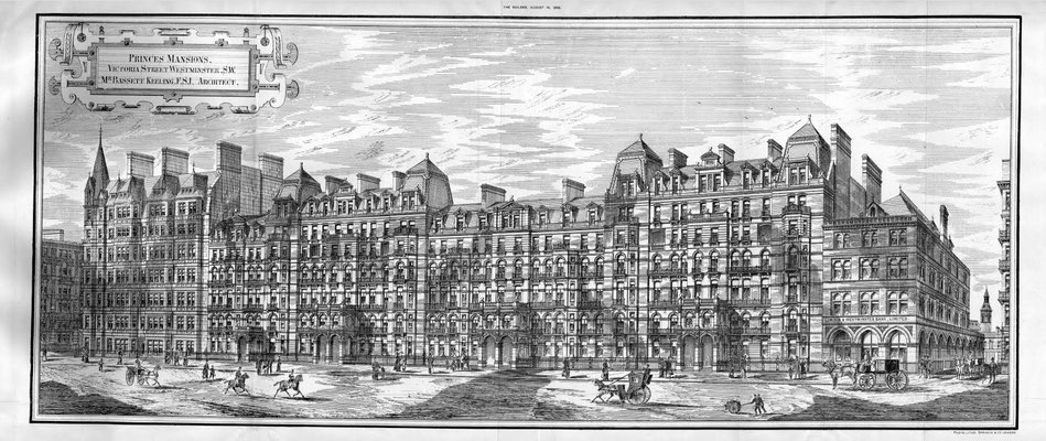 "Princes Mansions - Victoria St Westminster. Courtesy of ""The Builder"" ( 1886)magazine Vol.51, p.232"