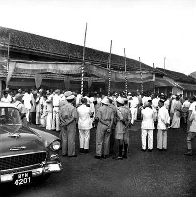 Meher Baba's car parked outside Saint Gadge Maharaj's Dharamshala, Pandharpur