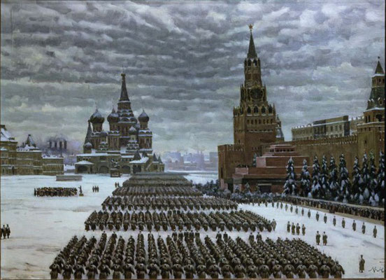Soviet troops parading in Red Square, Moscow
