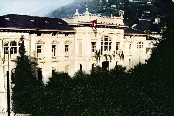 Governmental palace in Locarno, 1925.  Image Colourized by Anthony Zois.