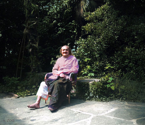 1952 - Meher Baba recuperating at the Merten's home, Locarno, Switzerland. Image colourization by Anthony Zois.