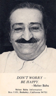 Front : Meher Baba in Poona May 1957 ; Photo taken by Bhikubhai, Meelan Studio.