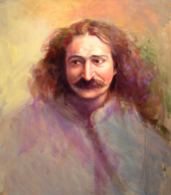 "2005 -#1 ; Meher Baba in London, 1931 - Oil - 24""x20"" - Courtesy of Gordon Campbell"