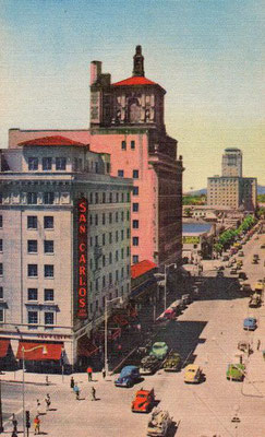 Looking north up Central Avenue at Monroe in the 1930s, Phoenix