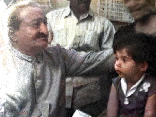 Meher Baba with baby Mehera. Image colourized by Anthony Zois.