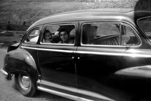 Switzerland - 6th August 1952 ; Meher Baba & Mehera Irani recovering from the accident in the USA, Mani Irani is also seated in the back. Photo possibly taken by Irene Billo.