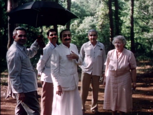 1956 ; Meher Center, Myrtle Beach, SC. ; Meher Baba with Elizabeth Patterson and his men mandali. The images were captured by Anthony Zois from a film by Sufism Reoriented.