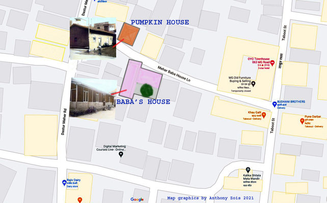 Map showing the 2 Merwan / Baba home in Meher Baba Lane,Pune.  Map graphics by Anthony Zois.