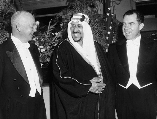 King Saud with President Eisenhower and Vice President Nixon in Washington at a state dinner in his honour.